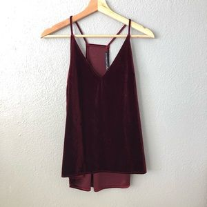 Abercrombie and Fitch Red Velvet V Neck Tank Top